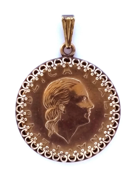 Italy 200 Lire Woman Portrait Pendant Gold Colored Vintage Necklace Jewelry - Silver Heron Studios - 1
