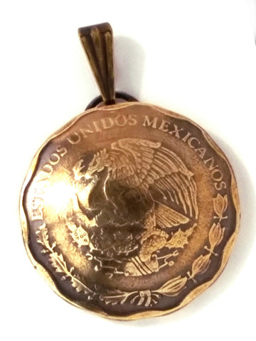 Mexico Golden Eagle Coin Pendant,Gold Eagle Jewelry Necklace Unique Charm - Silver Heron Studios
