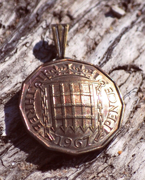 UK England 3 Pence Gate Coin Pendant British English Vintage Necklace Jewelry 1950s 1960s 1970s - Silver Heron Studios - 2
