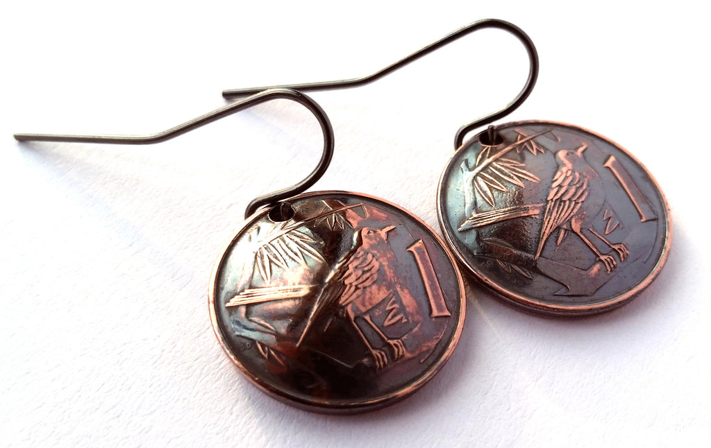 Cayman Islands Coin Earrings Bird Design Copper Colored Jewelry Woman Birthday Gift for Her