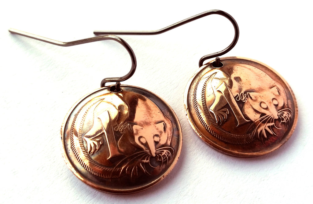 Australia Coin Earrings Copper Colored Jewelry Woman Birthday Gift for Her Christmas Gift for Her
