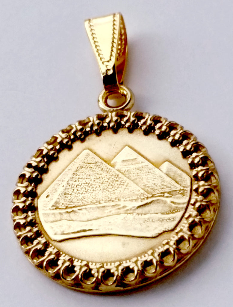 Egyptian Pyramids Gold Color Ancient Egypt Coin Jewelry Necklace Pyramid 1984 - Silver Heron Studios