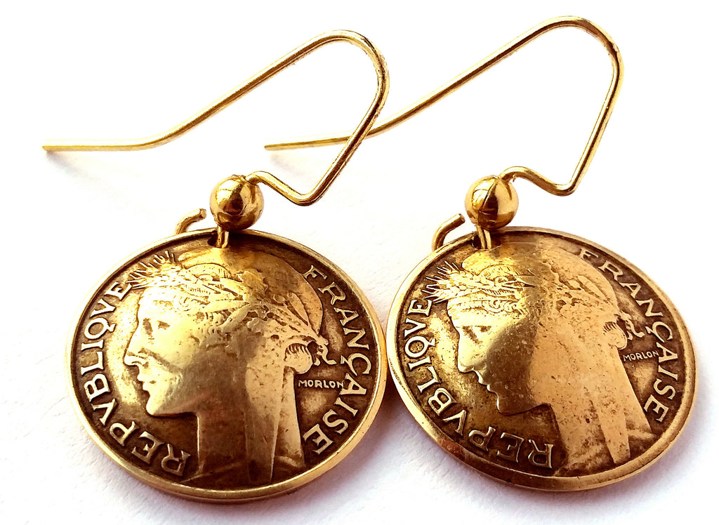 French Coin Earrings Antique Gold Colored Jewelry Woman Birthday Gift for Her France Coin Earrings
