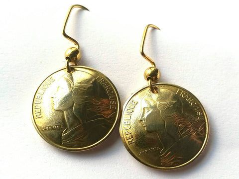 French Coin Earrings Gold Colored Jewelry Woman Birthday Gift for Her France Coin Earrings