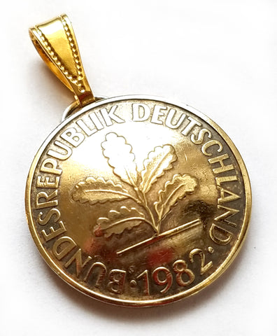 German Coin Pendant 10 Pfennig Oak Tree Vintage Germany Necklace Jewelry Unique Gift Foreign World
