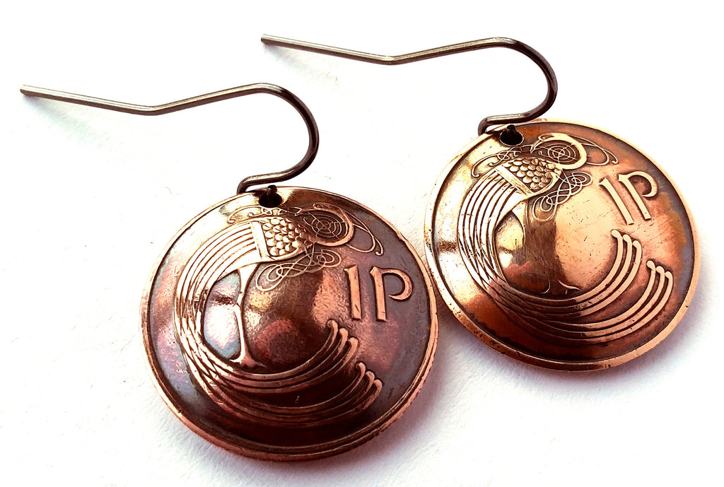Ireland Coin Earrings Celtic Bird Copper Colored Jewelry Irish Woman Birthday Gift for Her