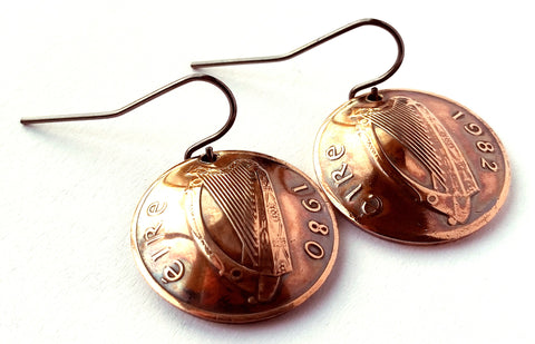 Ireland Coin Earrings Irish Harp Copper Colored Jewelry Celtic Woman Birthday Gift for Her