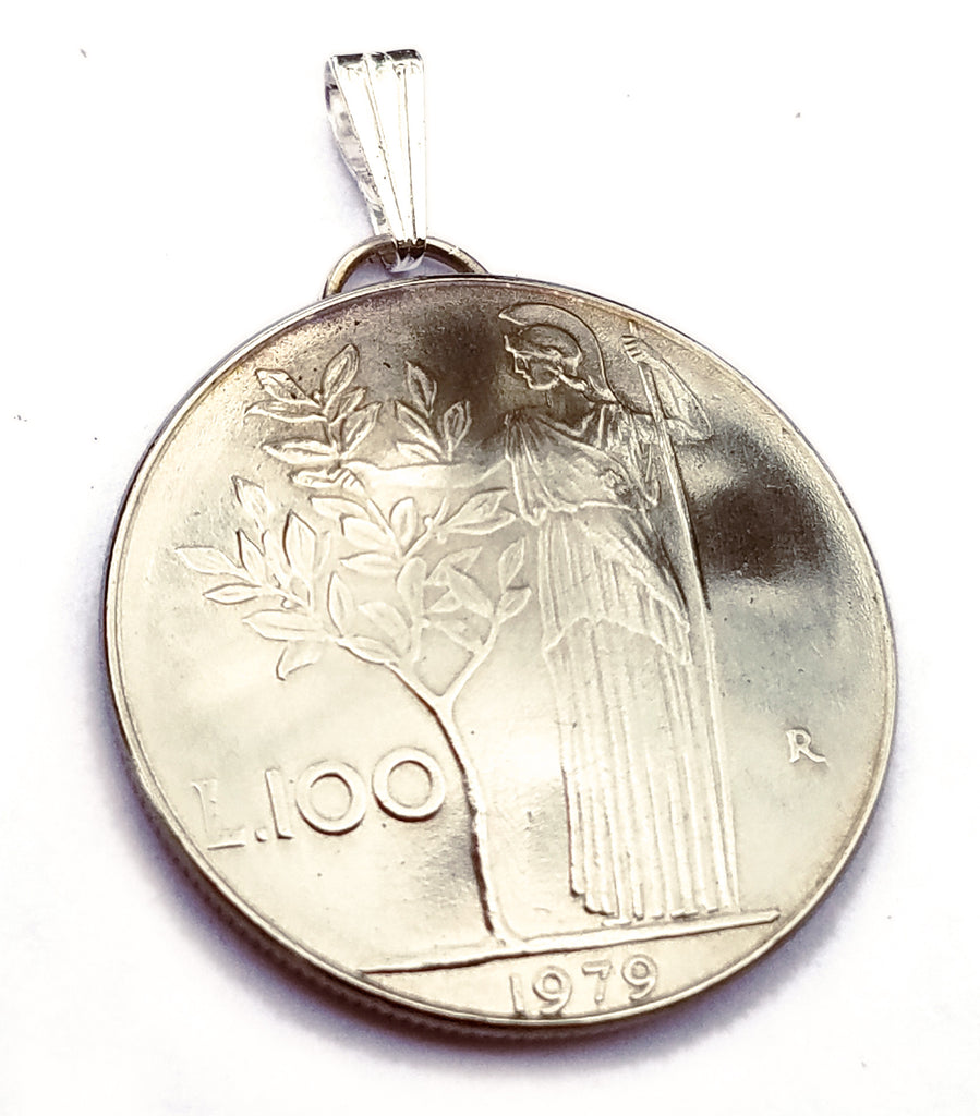 Italian Coin Pendant Minerva Olive Tree Vintage Necklace Italian Jewelry Unique World Travel