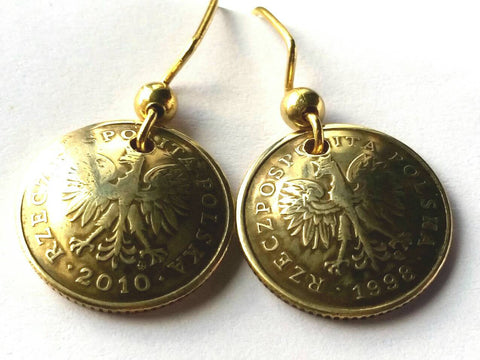 Poland Coin Earrings Gold Colored Jewelry Birthday Gift for Her Polish Eagle