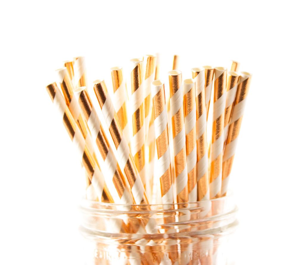 Rose Gold Foil Stripe Paper Straw