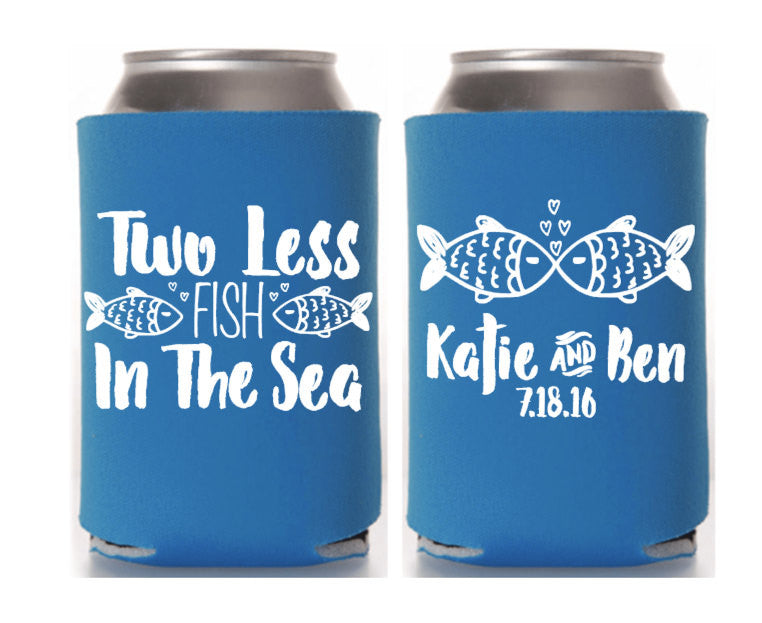 Two Less Fish Nautical Wedding Can Cooler