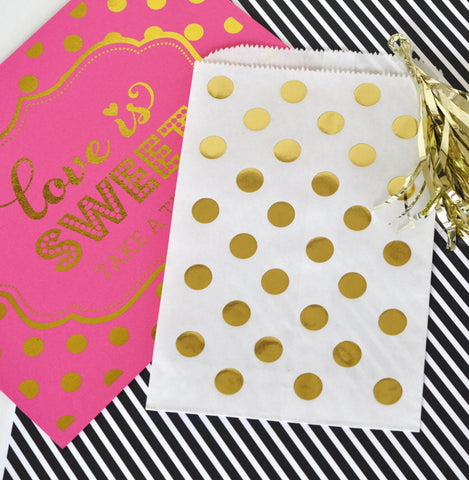 Polka Dot White and Gold Favor Bag