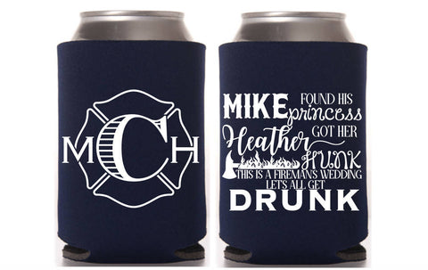 Firefighter Wedding Can Cooler