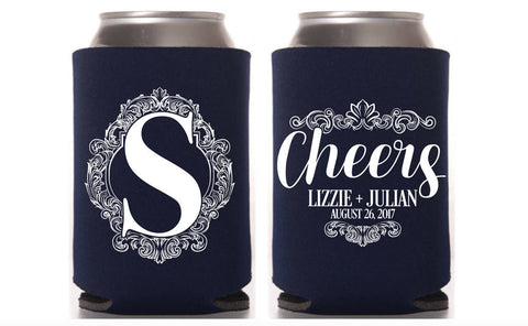 Monogram Cheers Wedding Can Cooler
