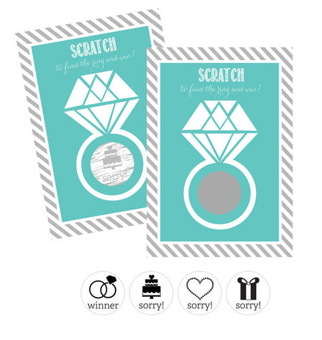 Scratch Off Game Cards - Wedding Ring - Aqua