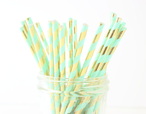 Metallic Gold  & Mint Stripe Paper Straw