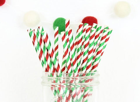Metallic Red & Green Stripe Paper Straw