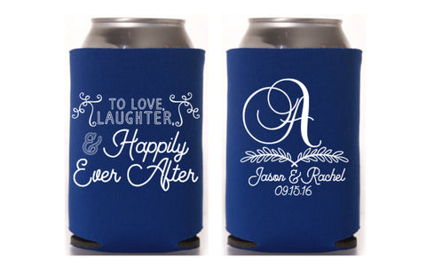 Love Laughter Monogram Can Cooler