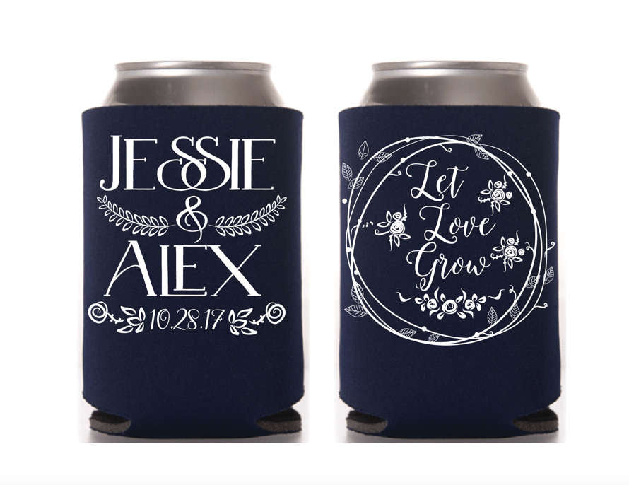 Let Love Grow Wedding Can Cooler