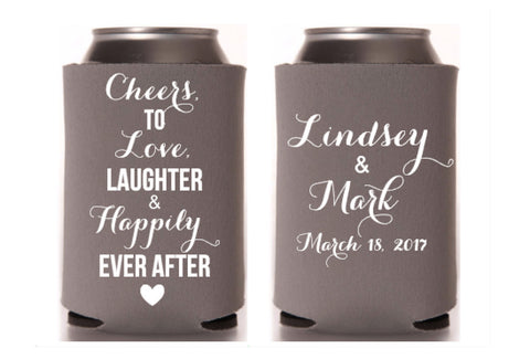 Cheers to Love Laughter Wedding Can Cooler