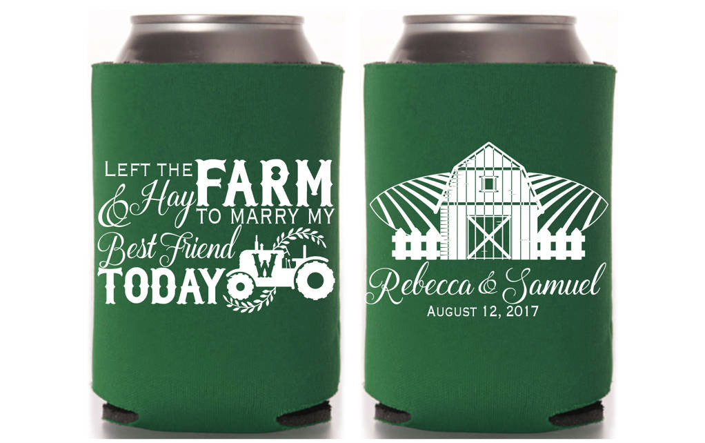 Left My Farm & Hay Wedding Can Cooler