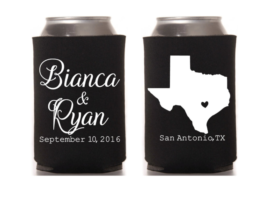 State Map Wedding Can Cooler