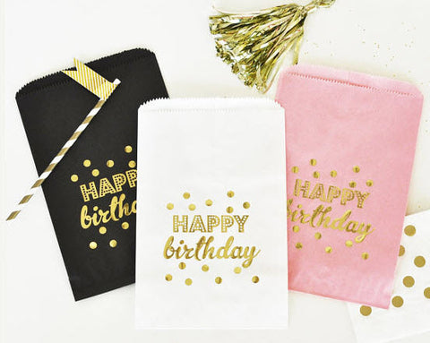 Happy Birthday White and Gold Favor Bag