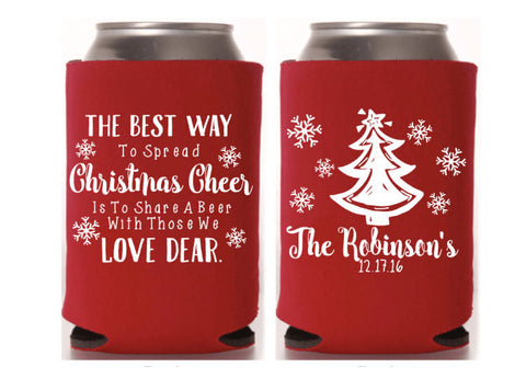 Christmas Cheer Wedding Favor Wedding Can Cooler