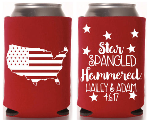 4th of July Wedding Can Cooler