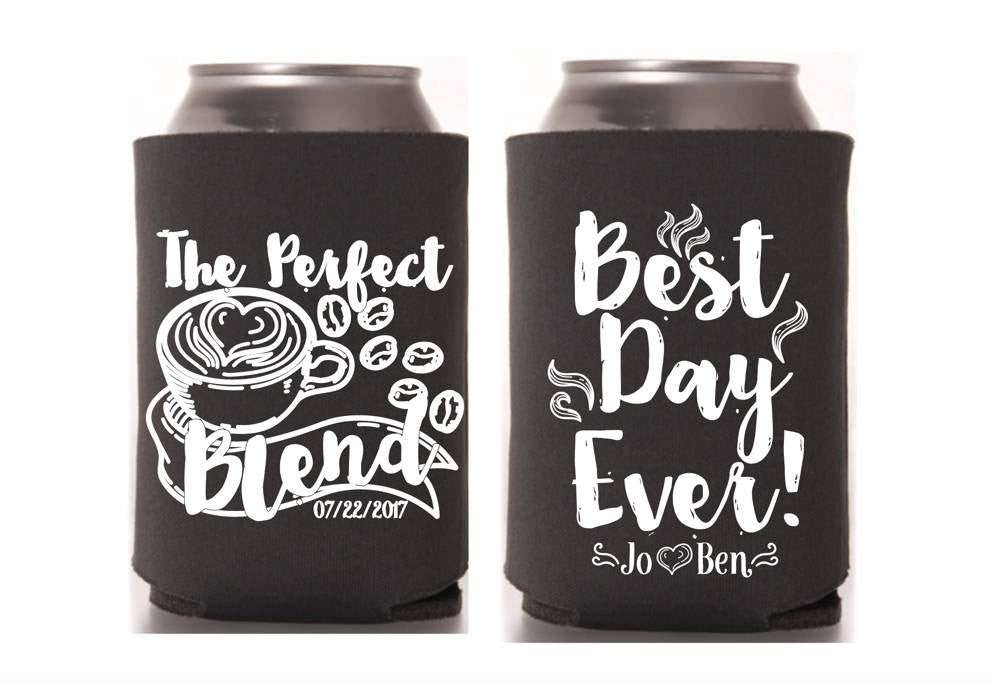The Perfect Blend Wedding Can Cooler