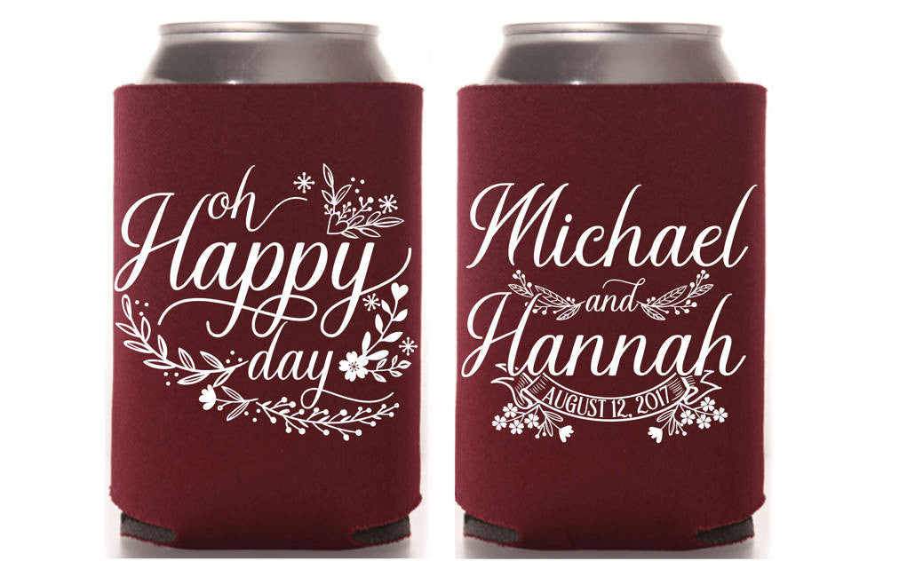 Oh Happy Day Wedding Can Cooler
