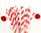 Red Foil Stripe Paper Straw