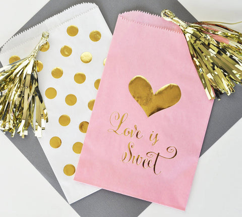 Love is Sweet Pink & Gold Favor Bag