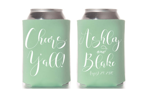 Cheers Yall Southern Wedding Can Cooler