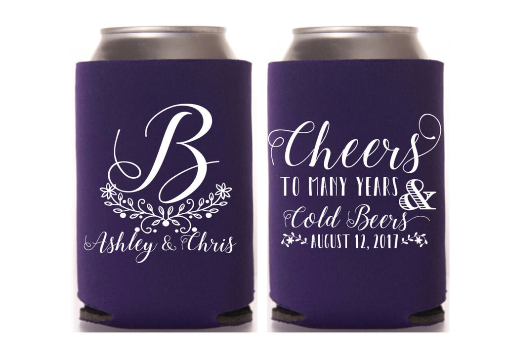 Monogram Wedding Can Cooler