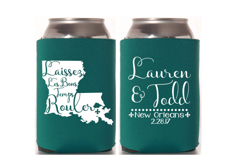 Louisiana Mardi Gras Wedding Can Cooler