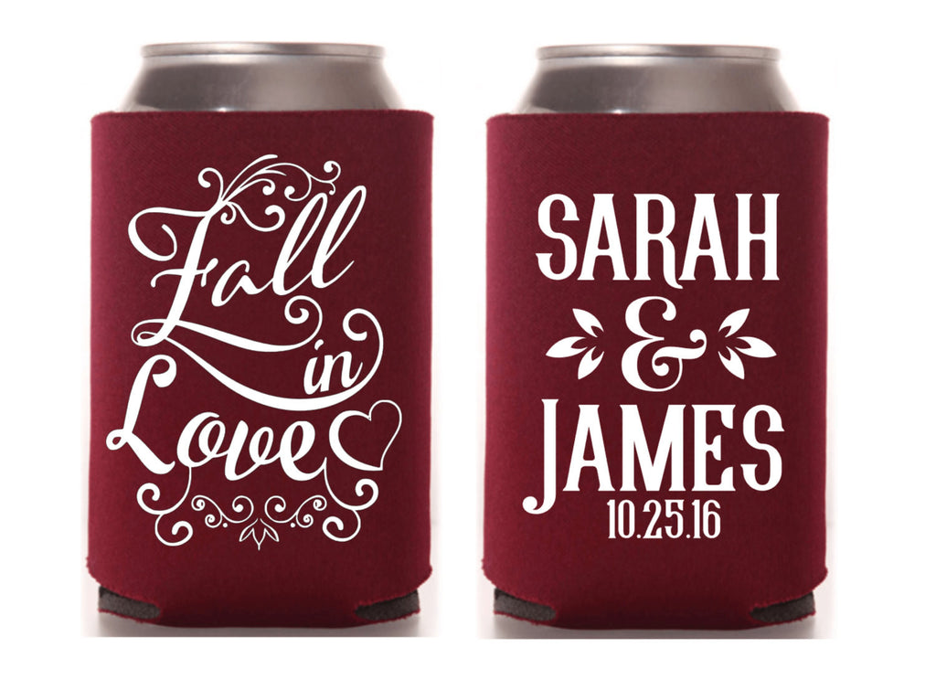 Fall In Love Wedding Can Cooler