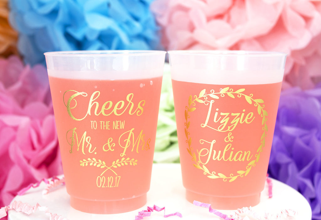 Personalized Wedding Frosted Plastic Cups Mailbox Happiness