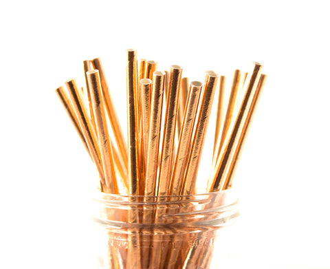 Rose Gold Foil Solid Paper Straw