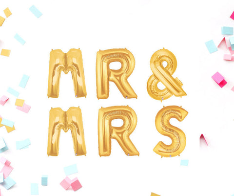 Mr & Mrs 40 Inch Gold Balloons