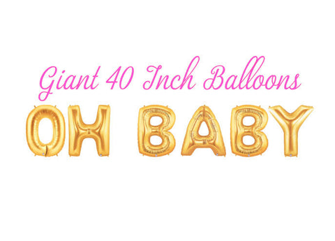 Oh Baby 40 Inch Gold Balloons