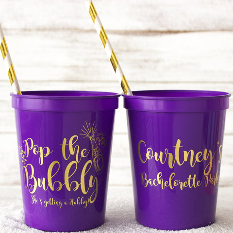 Bachelorette Party Cups Pop the Bubbly Bridal Shower Personalized Cups Stadium Cups Getting a Hubby Hen Party Cups Bachelorette Favors