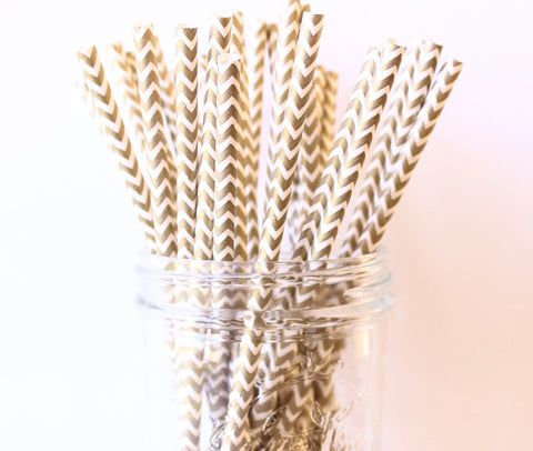 Gold Chevron Paper Straw