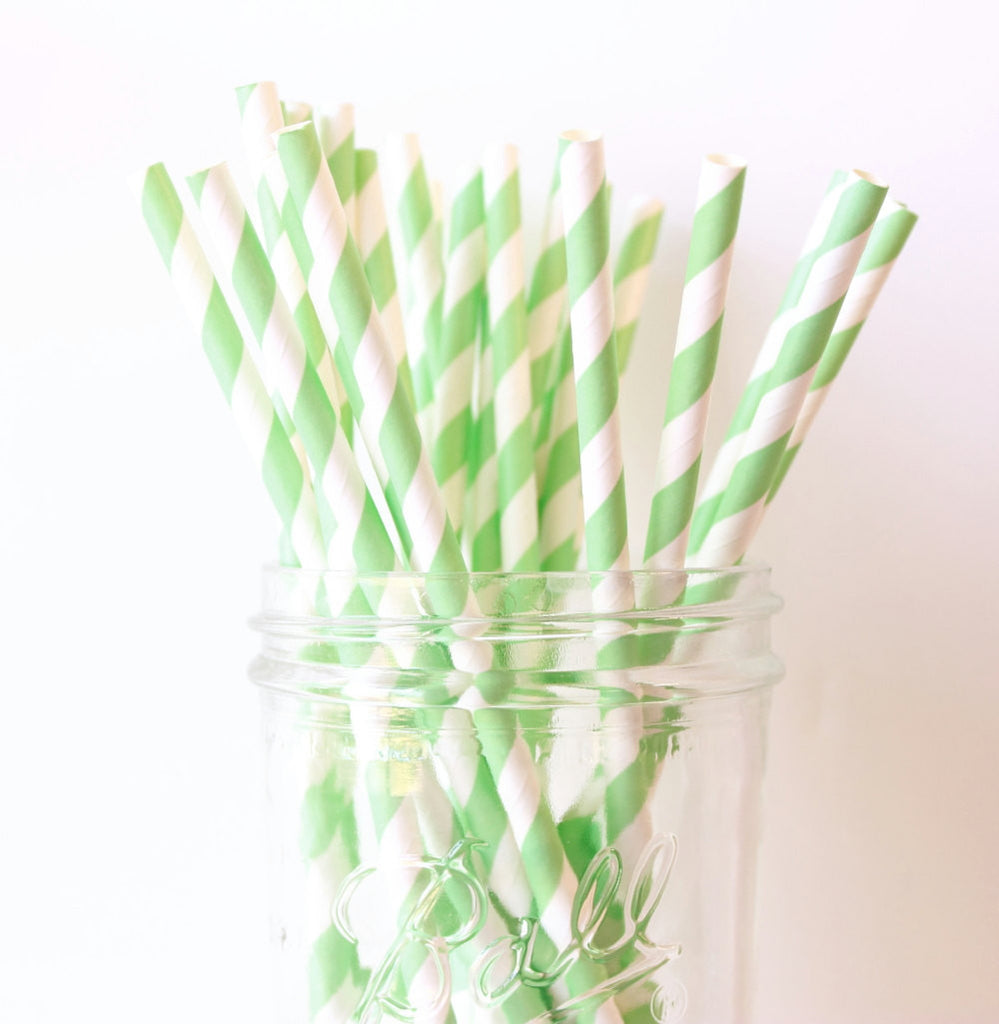 Mint Green Stripe Paper Straw