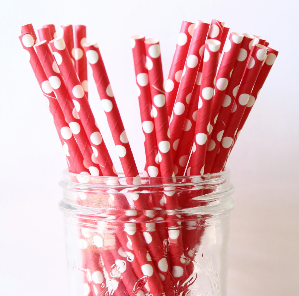 Red with White Polka Dot Paper Straw