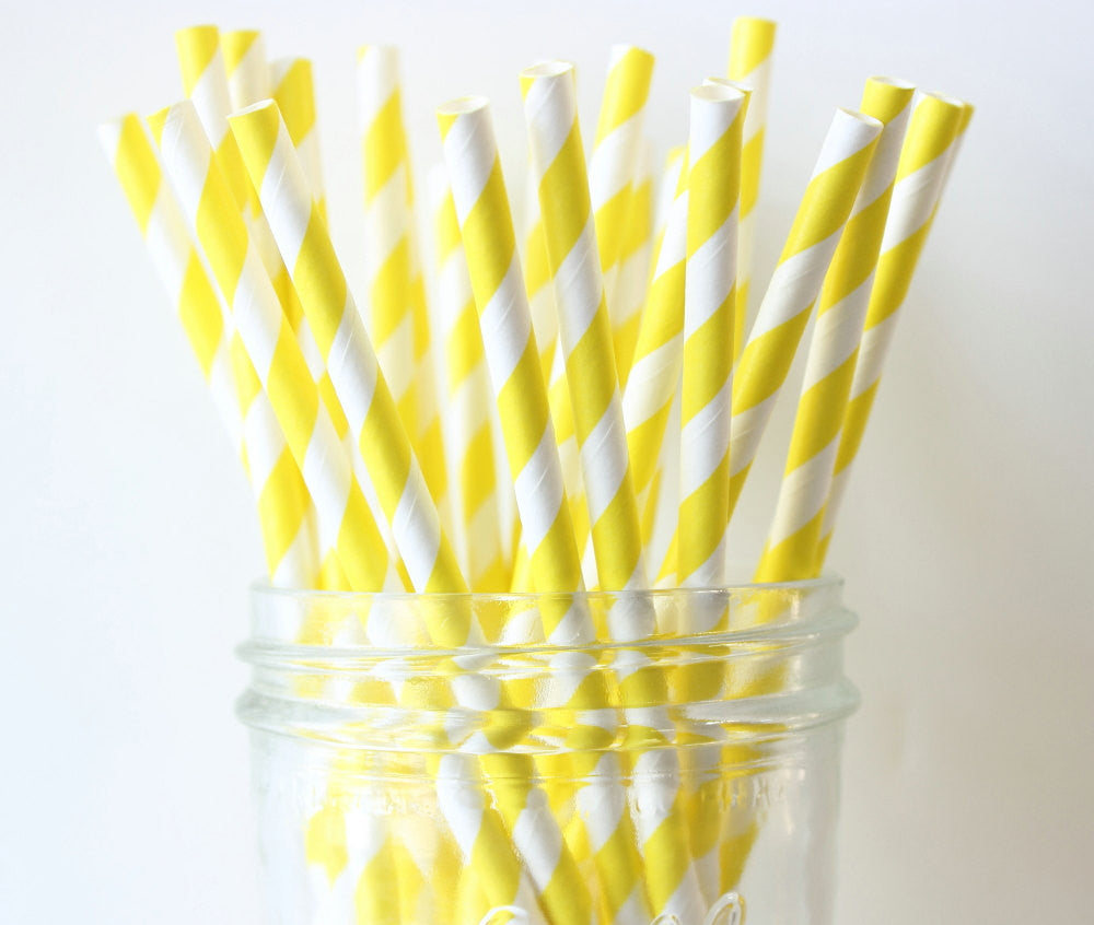 Yellow Stripe Paper Straw
