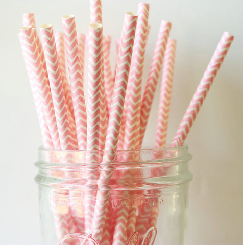 Blush Pink Chevron Paper Straw