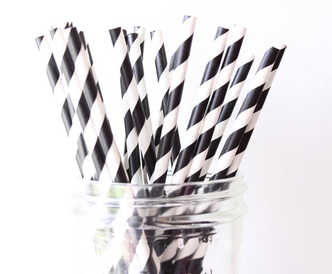 Black Stripe Paper Straw