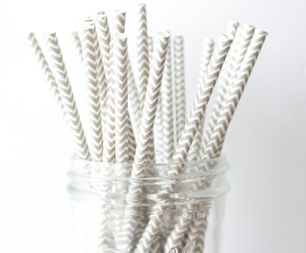 Grey Chevron Paper Straw