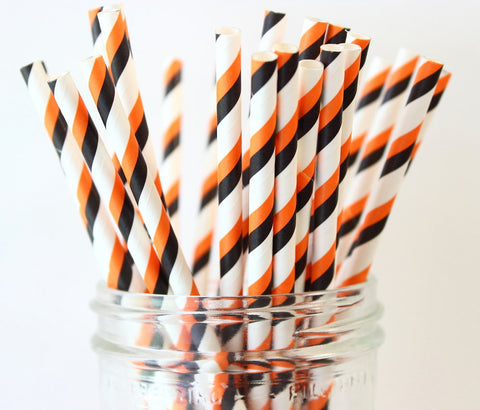 Halloween Stripe Paper Straw